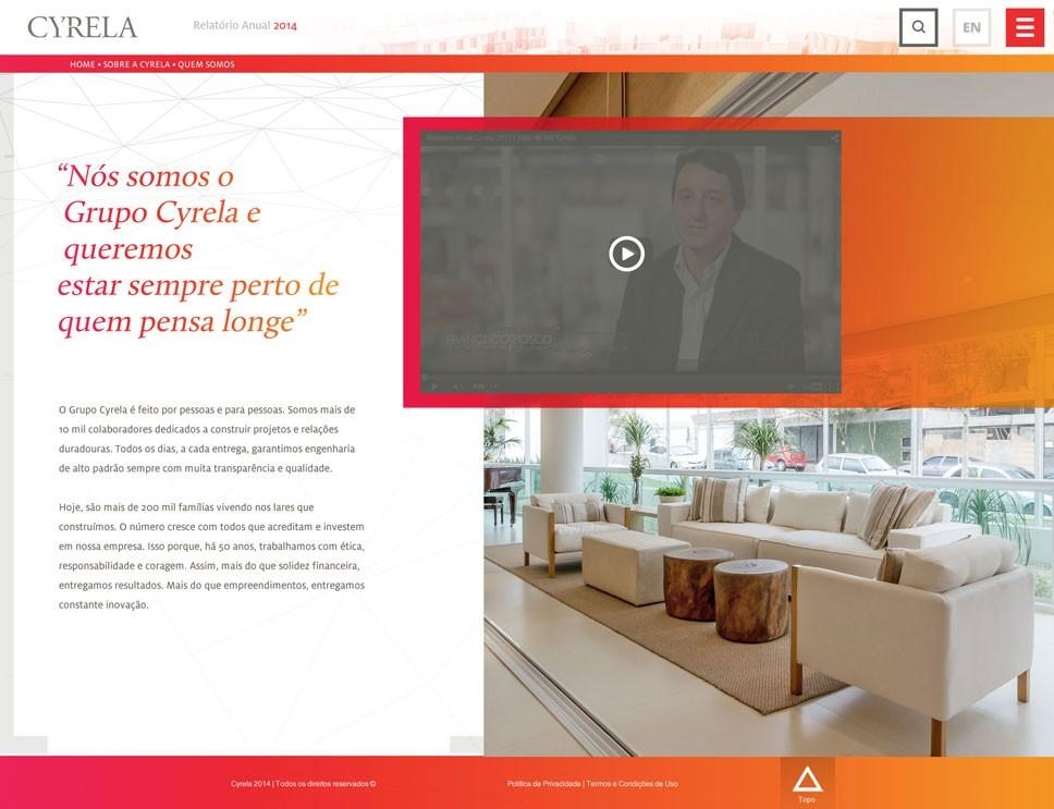 Criação do site Cyrela - Pagina Depoimentos