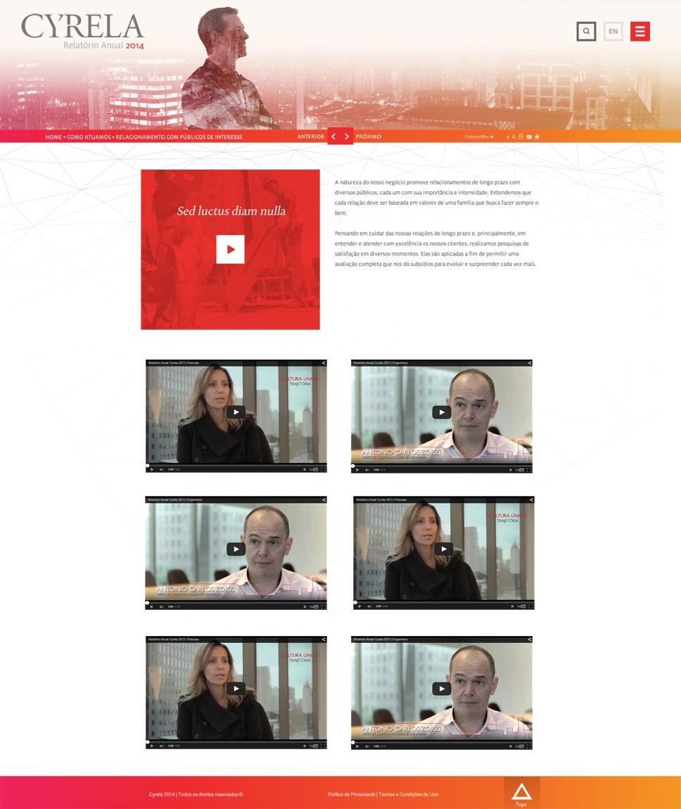 Criação do site Cyrela - Página de Vídeos
